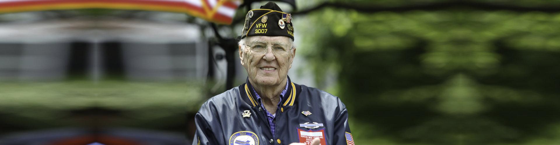 veteran at holiday ceremony