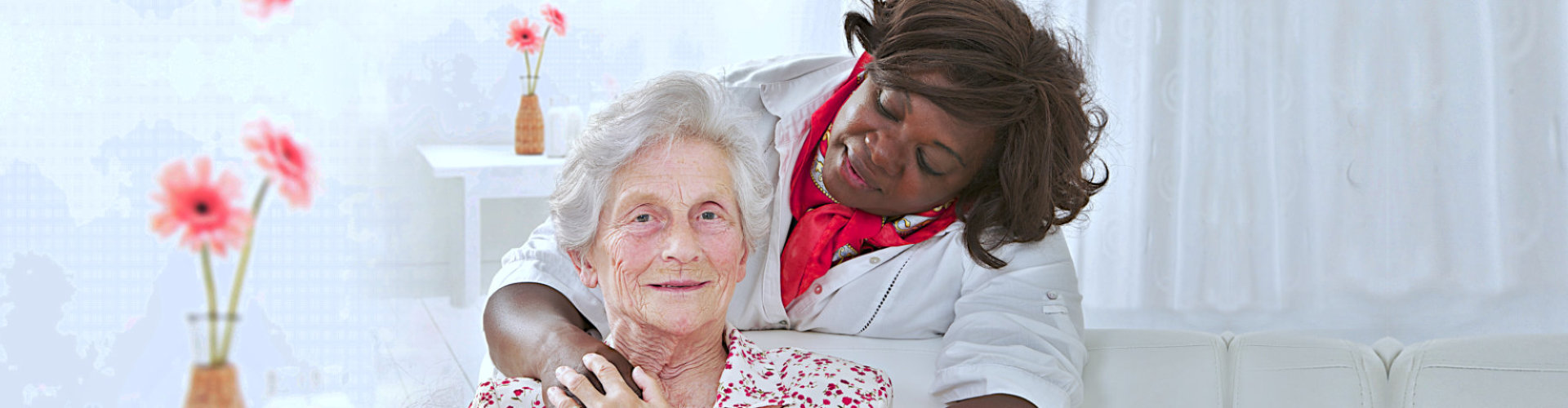 female caregiver looking at the senior woman